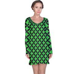 Circles3 Black Marble & Green Colored Pencil (r) Long Sleeve Nightdress