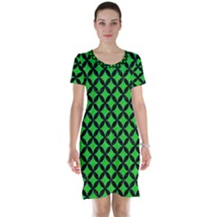 Circles3 Black Marble & Green Colored Pencil (r) Short Sleeve Nightdress