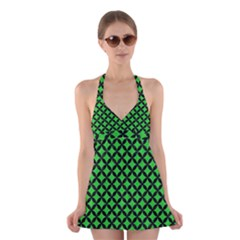 Circles3 Black Marble & Green Colored Pencil (r) Halter Swimsuit Dress
