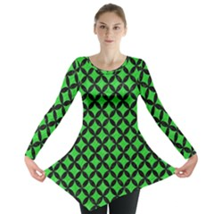 Circles3 Black Marble & Green Colored Pencil (r) Long Sleeve Tunic
