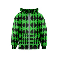 Diamond1 Black Marble & Green Colored Pencil Kids  Zipper Hoodie