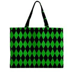 Diamond1 Black Marble & Green Colored Pencil Zipper Mini Tote Bag