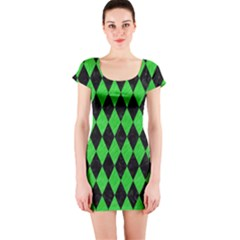 Diamond1 Black Marble & Green Colored Pencil Short Sleeve Bodycon Dress