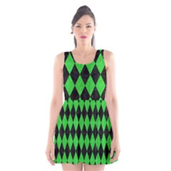 Diamond1 Black Marble & Green Colored Pencil Scoop Neck Skater Dress
