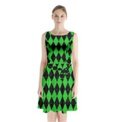 Diamond1 Black Marble & Green Colored Pencil Sleeveless Waist Tie Chiffon Dress