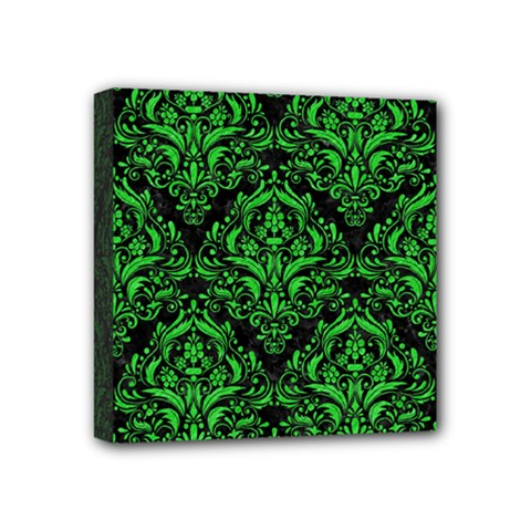 Damask1 Black Marble & Green Colored Pencil Mini Canvas 4  X 4