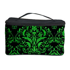 Damask1 Black Marble & Green Colored Pencil Cosmetic Storage Case