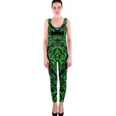 Damask1 Black Marble & Green Colored Pencil Onepiece Catsuit