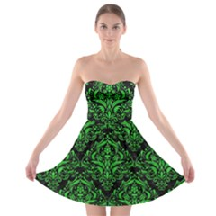 Damask1 Black Marble & Green Colored Pencil Strapless Bra Top Dress