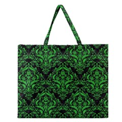 Damask1 Black Marble & Green Colored Pencil Zipper Large Tote Bag