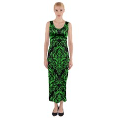 Damask1 Black Marble & Green Colored Pencil Fitted Maxi Dress