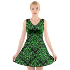 Damask1 Black Marble & Green Colored Pencil V Neck Sleeveless Skater Dress