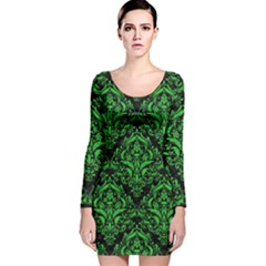 Damask1 Black Marble & Green Colored Pencil Long Sleeve Velvet Bodycon Dress