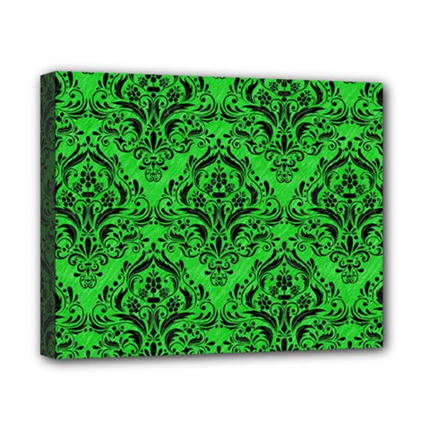 Damask1 Black Marble & Green Colored Pencil (r) Canvas 10  X 8