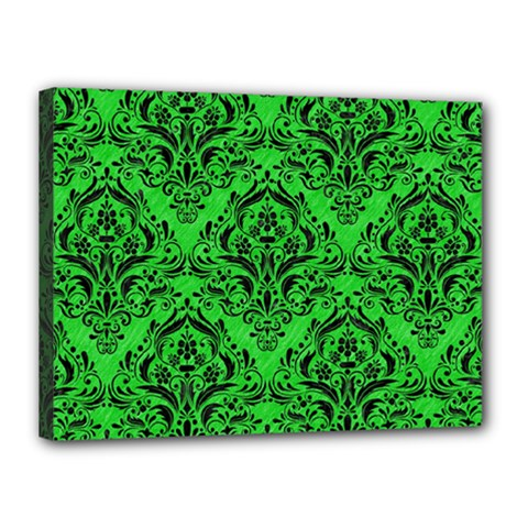 Damask1 Black Marble & Green Colored Pencil (r) Canvas 16  X 12