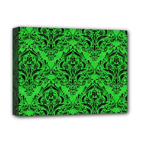 Damask1 Black Marble & Green Colored Pencil (r) Deluxe Canvas 16  X 12