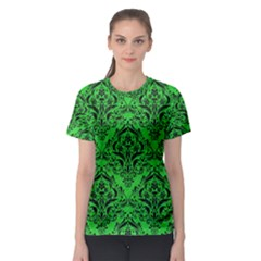 Damask1 Black Marble & Green Colored Pencil (r) Women s Sport Mesh Tee