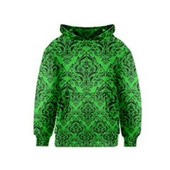 Damask1 Black Marble & Green Colored Pencil (r) Kids  Pullover Hoodie