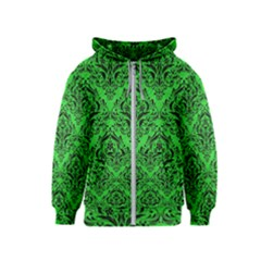 Damask1 Black Marble & Green Colored Pencil (r) Kids  Zipper Hoodie