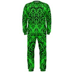 Damask1 Black Marble & Green Colored Pencil (r) Onepiece Jumpsuit (men)
