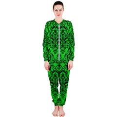 Damask1 Black Marble & Green Colored Pencil (r) Onepiece Jumpsuit (ladies)