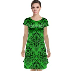 Damask1 Black Marble & Green Colored Pencil (r) Cap Sleeve Nightdress
