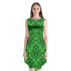 Damask1 Black Marble & Green Colored Pencil (r) Sleeveless Chiffon Dress