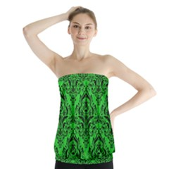 Damask1 Black Marble & Green Colored Pencil (r) Strapless Top