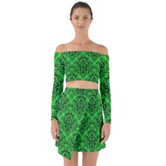 Damask1 Black Marble & Green Colored Pencil (r) Off Shoulder Top With Skirt Set