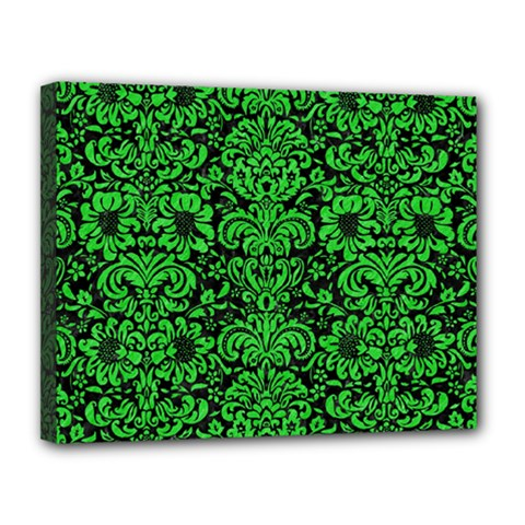 Damask2 Black Marble & Green Colored Pencil Canvas 14  X 11