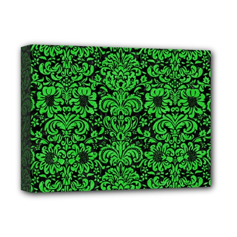 Damask2 Black Marble & Green Colored Pencil Deluxe Canvas 16  X 12