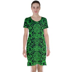 Damask2 Black Marble & Green Colored Pencil Short Sleeve Nightdress