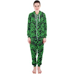 Damask2 Black Marble & Green Colored Pencil Hooded Jumpsuit (ladies)