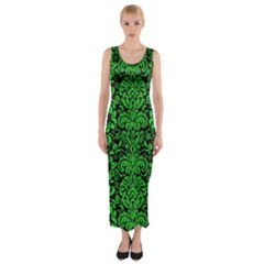 Damask2 Black Marble & Green Colored Pencil Fitted Maxi Dress