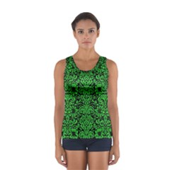 Damask2 Black Marble & Green Colored Pencil Sport Tank Top