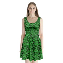 Damask2 Black Marble & Green Colored Pencil Split Back Mini Dress