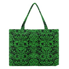 Damask2 Black Marble & Green Colored Pencil Medium Tote Bag