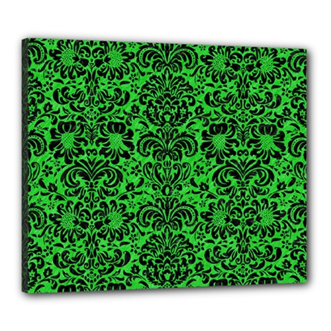 Damask2 Black Marble & Green Colored Pencil (r) Canvas 24  X 20