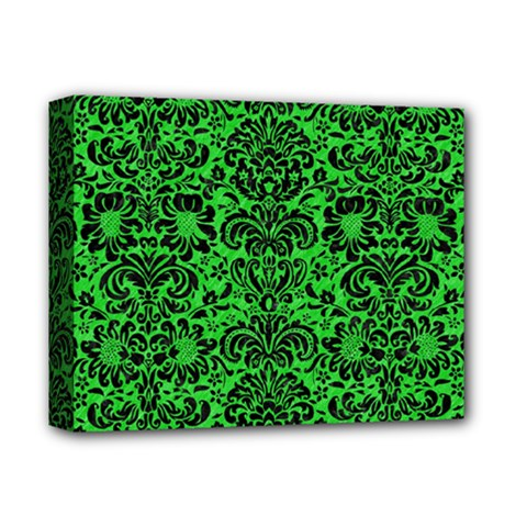 Damask2 Black Marble & Green Colored Pencil (r) Deluxe Canvas 14  X 11