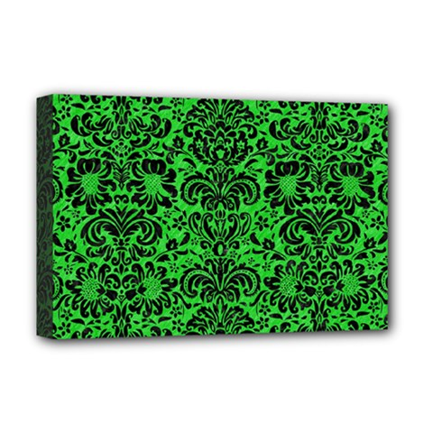 Damask2 Black Marble & Green Colored Pencil (r) Deluxe Canvas 18  X 12