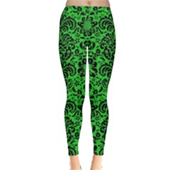 Damask2 Black Marble & Green Colored Pencil (r) Leggings