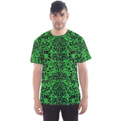 Damask2 Black Marble & Green Colored Pencil (r) Men s Sports Mesh Tee