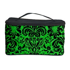Damask2 Black Marble & Green Colored Pencil (r) Cosmetic Storage Case