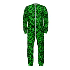Damask2 Black Marble & Green Colored Pencil (r) Onepiece Jumpsuit (kids)