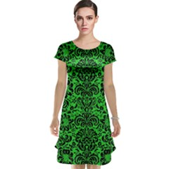 Damask2 Black Marble & Green Colored Pencil (r) Cap Sleeve Nightdress