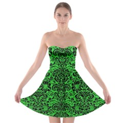Damask2 Black Marble & Green Colored Pencil (r) Strapless Bra Top Dress