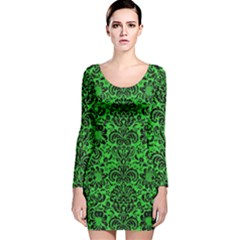 Damask2 Black Marble & Green Colored Pencil (r) Long Sleeve Velvet Bodycon Dress