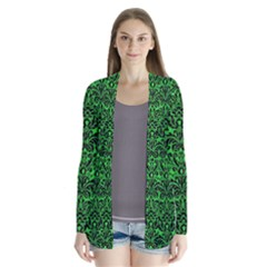 Damask2 Black Marble & Green Colored Pencil (r) Drape Collar Cardigan