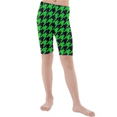 Houndstooth1 Black Marble & Green Colored Pencil Kids  Mid Length Swim Shorts