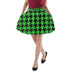 Houndstooth1 Black Marble & Green Colored Pencil A Line Pocket Skirt